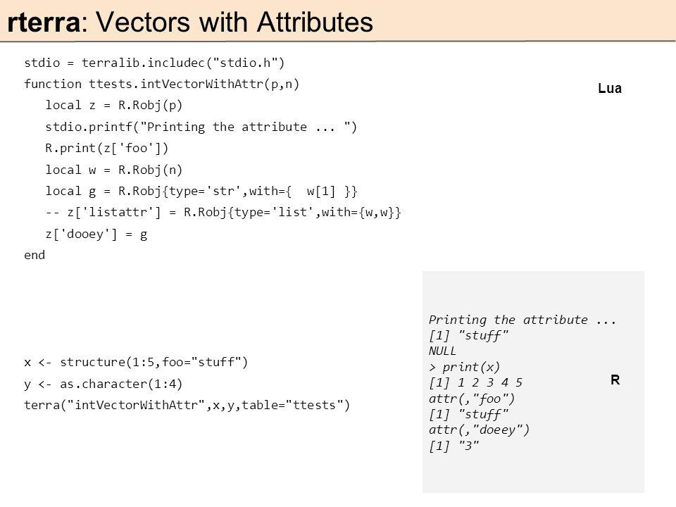 stdio = terralib.includec( stdio.h ) function ttests.intVectorWithAttr(p,n) local z = R.Robj(p) stdio.printf( Printing the attribute...