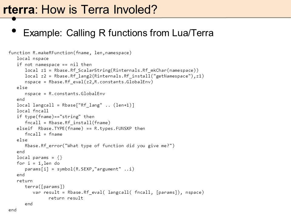 rterra: How is Terra Involed.