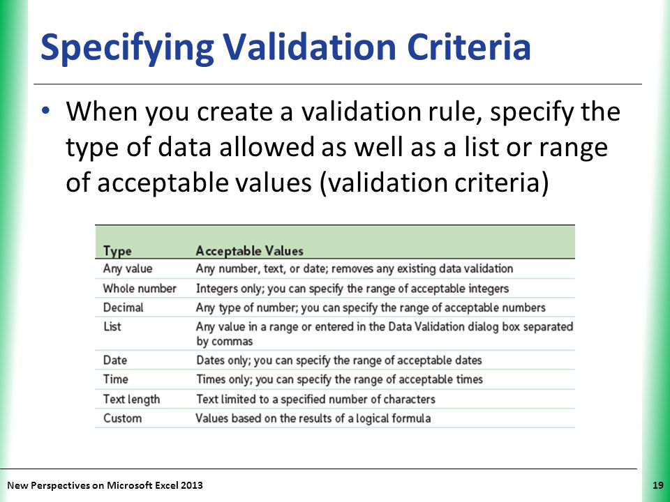 XP New Perspectives on Microsoft Excel 201319 Specifying Validation Criteria When you create a validation rule, specify the type of data allowed as we