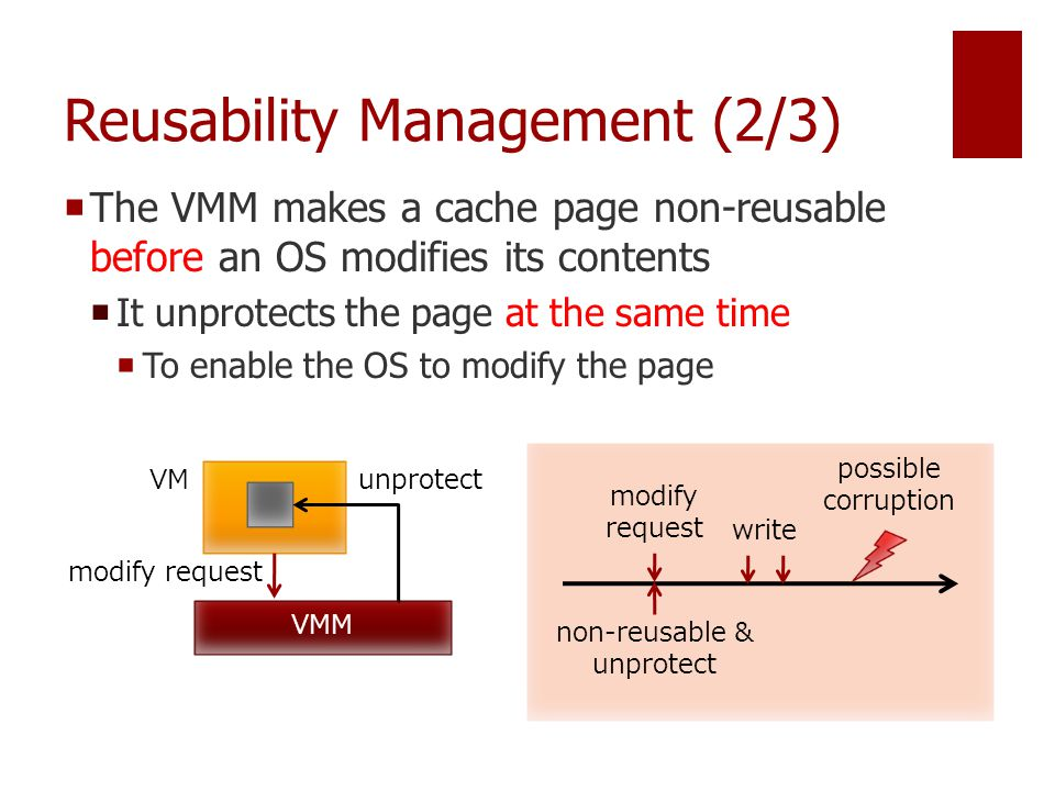 Reusability Management (2/3)  The VMM makes a cache page non-reusable before an OS modifies its contents  It unprotects the page at the same time  To enable the OS to modify the page VMM VM modify request unprotect modify request non-reusable & unprotect possible corruption write