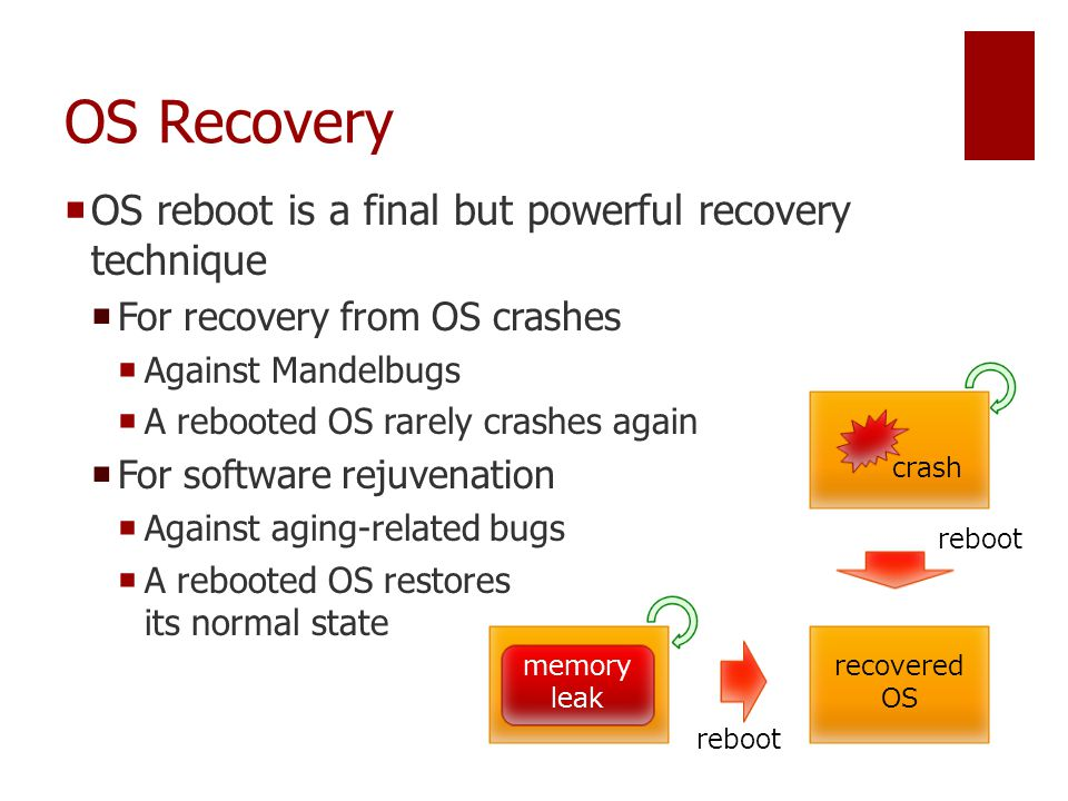 OS Recovery  OS reboot is a final but powerful recovery technique  For recovery from OS crashes  Against Mandelbugs  A rebooted OS rarely crashes again  For software rejuvenation  Against aging-related bugs  A rebooted OS restores its normal state recovered OS reboot memory leak crash