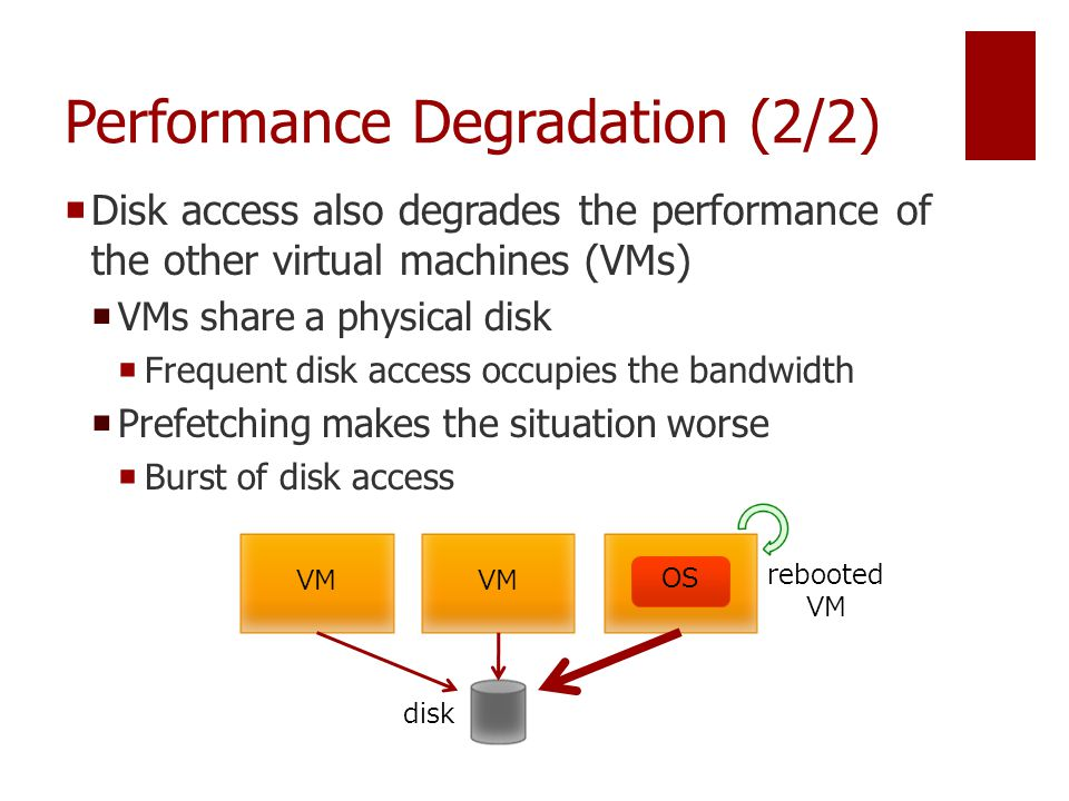 Performance Degradation (2/2)  Disk access also degrades the performance of the other virtual machines (VMs)  VMs share a physical disk  Frequent disk access occupies the bandwidth  Prefetching makes the situation worse  Burst of disk access VM disk rebooted VM OS