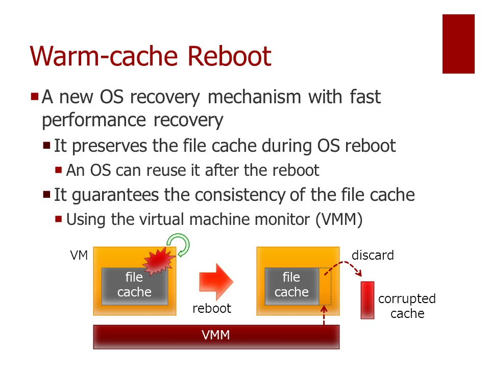 Warm-cache Reboot  A new OS recovery mechanism with fast performance recovery  It preserves the file cache during OS reboot  An OS can reuse it after the reboot  It guarantees the consistency of the file cache  Using the virtual machine monitor (VMM) file cache reboot file cache VMM VMdiscard corrupted cache