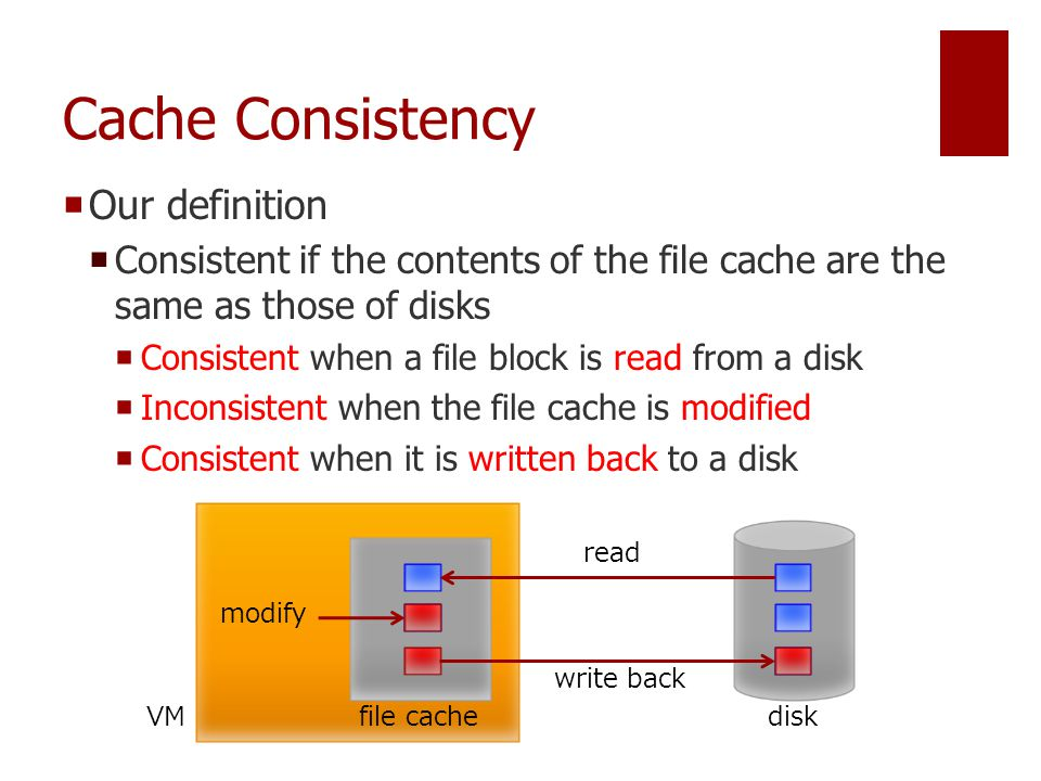 Cache Consistency  Our definition  Consistent if the contents of the file cache are the same as those of disks  Consistent when a file block is read from a disk  Inconsistent when the file cache is modified  Consistent when it is written back to a disk disk file cache read VM modify write back