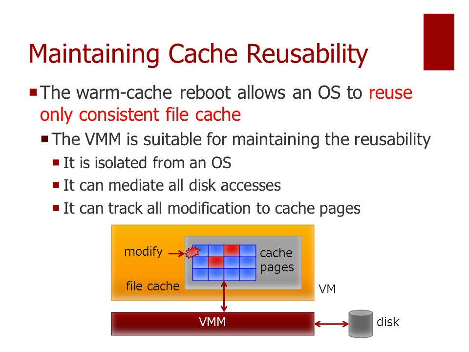 Maintaining Cache Reusability  The warm-cache reboot allows an OS to reuse only consistent file cache  The VMM is suitable for maintaining the reusability  It is isolated from an OS  It can mediate all disk accesses  It can track all modification to cache pages VMM VM disk modify cache pages file cache