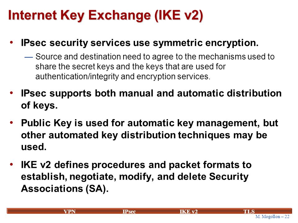 M. Mogollon – 22 VPNIPsecIKE v2 TLS Internet Key Exchange (IKE v2) IPsec security services use symmetric encryption. —Source and destination need to a