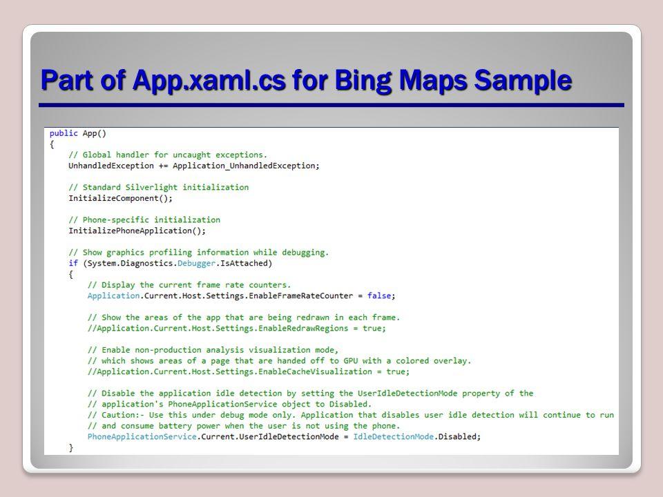 Part of App.xaml.cs for Bing Maps Sample