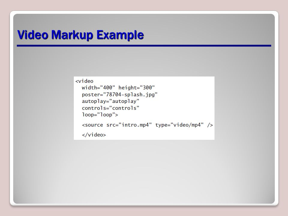 Video Markup Example
