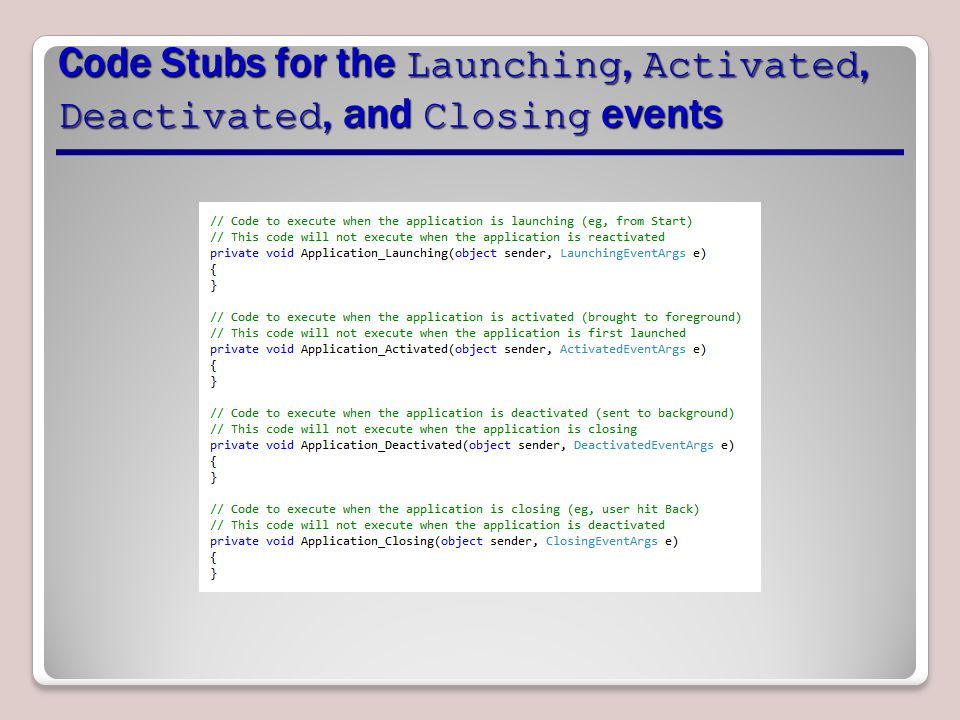 Code Stubs for the Launching, Activated, Deactivated, and Closing events