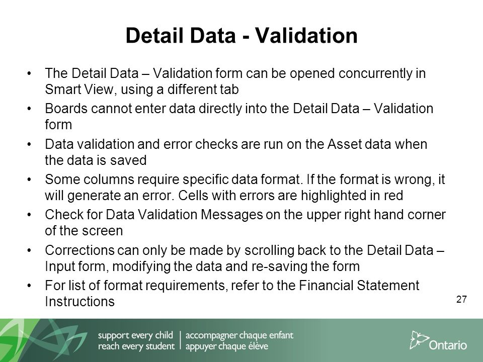 Detail Data - Validation The Detail Data – Validation form can be opened concurrently in Smart View, using a different tab Boards cannot enter data directly into the Detail Data – Validation form Data validation and error checks are run on the Asset data when the data is saved Some columns require specific data format.
