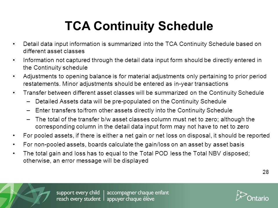 TCA Continuity Schedule Detail data input information is summarized into the TCA Continuity Schedule based on different asset classes Information not captured through the detail data input form should be directly entered in the Continuity schedule Adjustments to opening balance is for material adjustments only pertaining to prior period restatements.