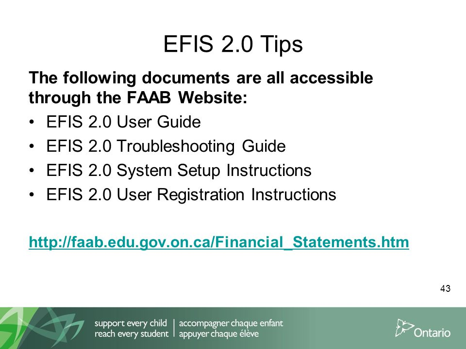 EFIS 2.0 Tips The following documents are all accessible through the FAAB Website: EFIS 2.0 User Guide EFIS 2.0 Troubleshooting Guide EFIS 2.0 System Setup Instructions EFIS 2.0 User Registration Instructions http://faab.edu.gov.on.ca/Financial_Statements.htm 43