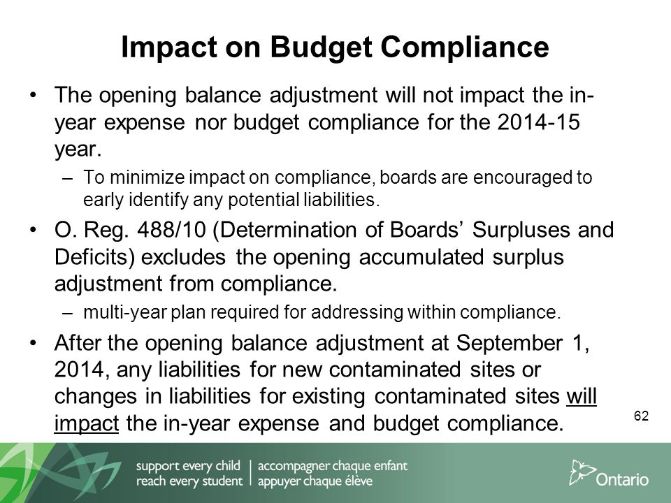 Impact on Budget Compliance 62 The opening balance adjustment will not impact the in- year expense nor budget compliance for the 2014-15 year.