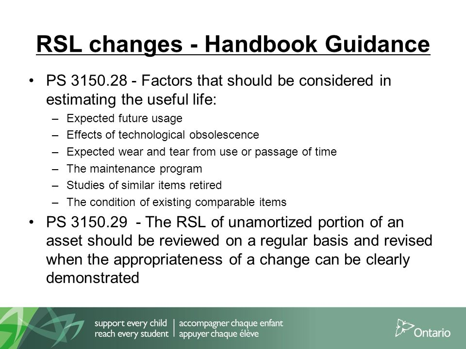RSL changes - Handbook Guidance PS 3150.28 - Factors that should be considered in estimating the useful life: –Expected future usage –Effects of techn
