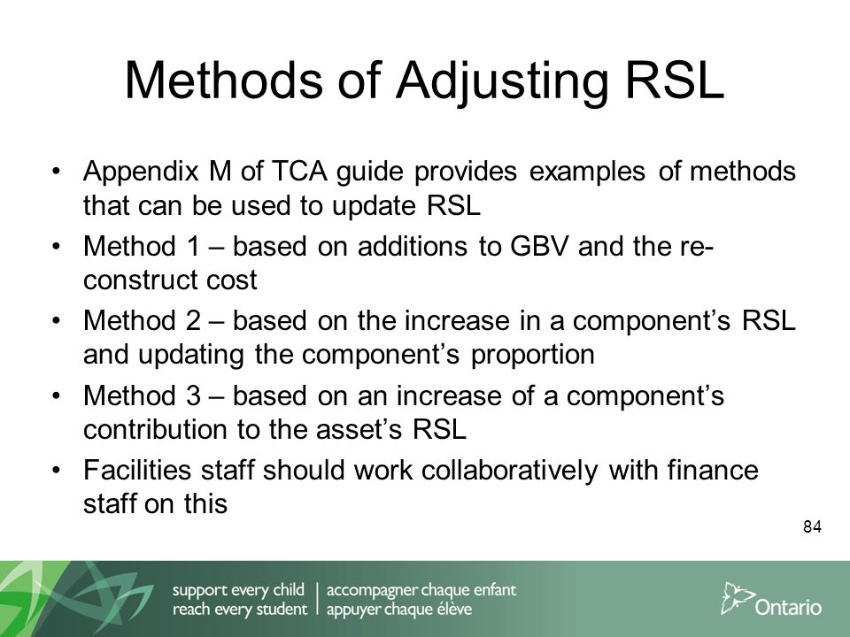 Methods of Adjusting RSL Appendix M of TCA guide provides examples of methods that can be used to update RSL Method 1 – based on additions to GBV and the re- construct cost Method 2 – based on the increase in a component's RSL and updating the component's proportion Method 3 – based on an increase of a component's contribution to the asset's RSL Facilities staff should work collaboratively with finance staff on this 84
