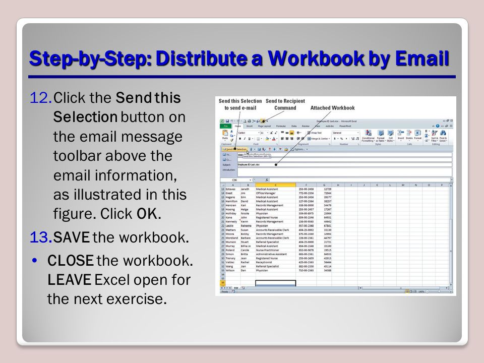 Step-by-Step: Distribute a Workbook by Email 12.Click the Send this Selection button on the email message toolbar above the email information, as illustrated in this figure.