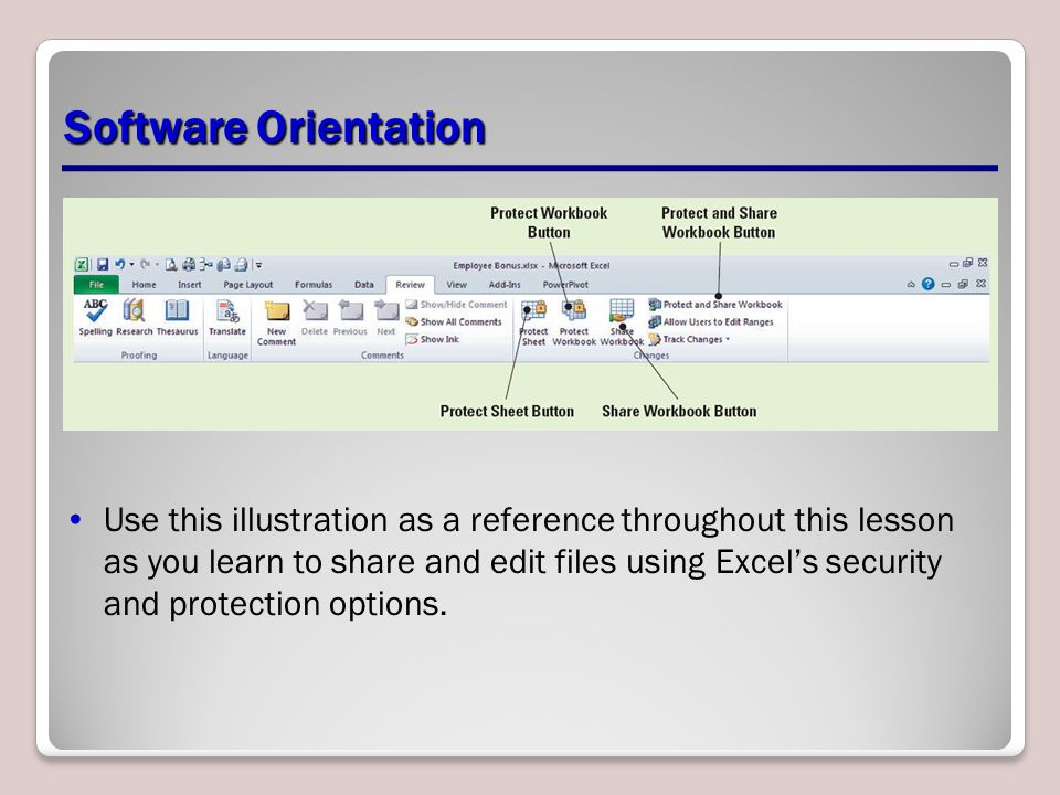 Software Orientation Use this illustration as a reference throughout this lesson as you learn to share and edit files using Excel's security and protection options.