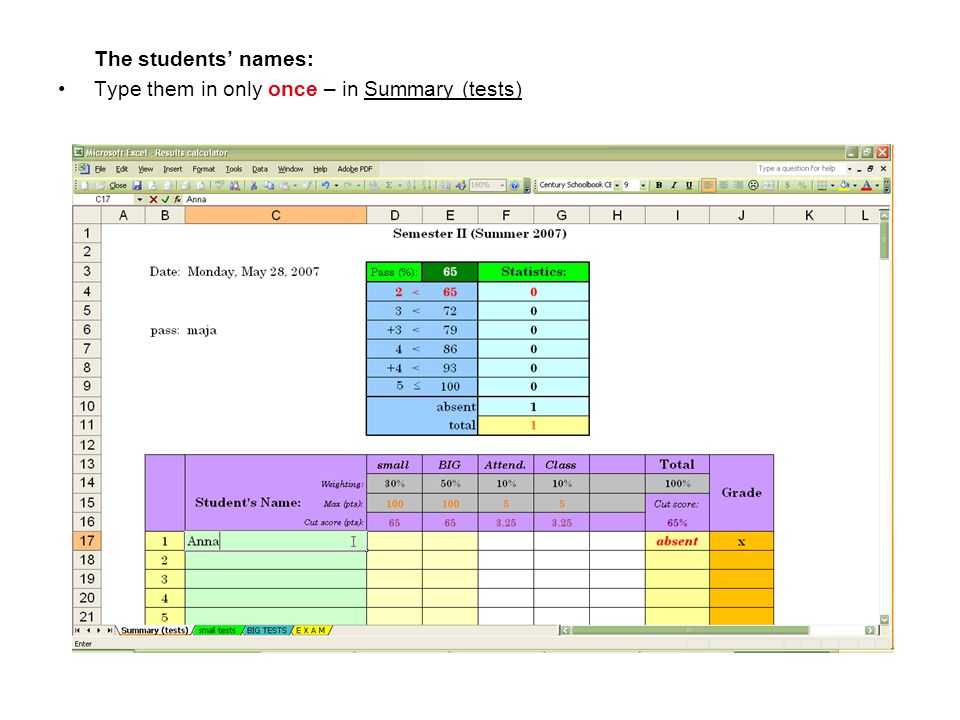 The students' names: Type them in only once – in Summary (tests)