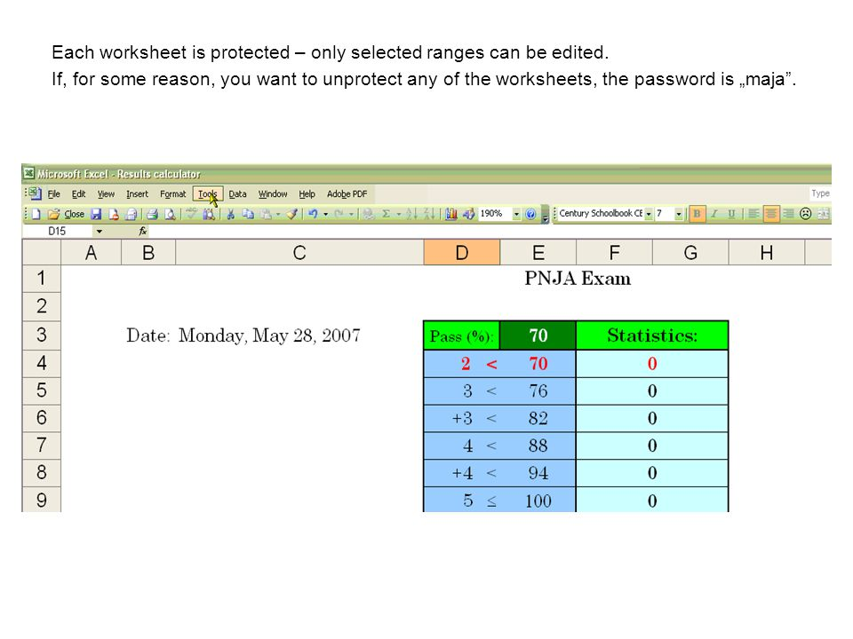 Each worksheet is protected – only selected ranges can be edited.