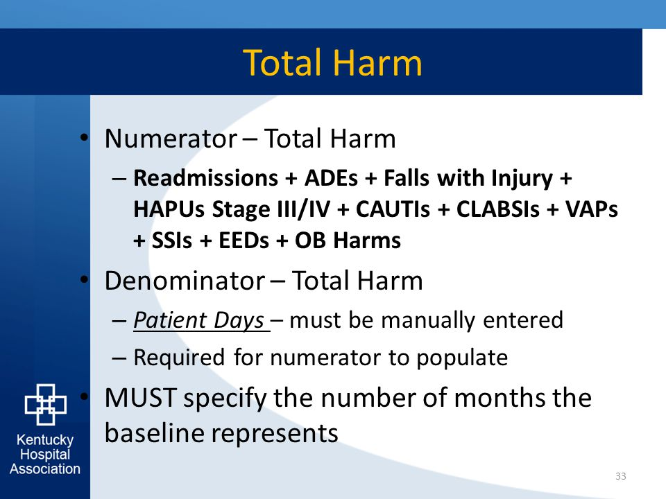 Total Harm Numerator – Total Harm – Readmissions + ADEs + Falls with Injury + HAPUs Stage III/IV + CAUTIs + CLABSIs + VAPs + SSIs + EEDs + OB Harms De