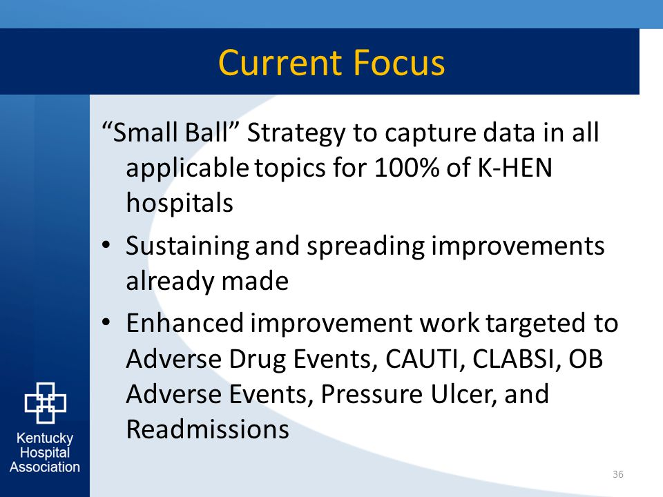 "Current Focus ""Small Ball"" Strategy to capture data in all applicable topics for 100% of K-HEN hospitals Sustaining and spreading improvements already"