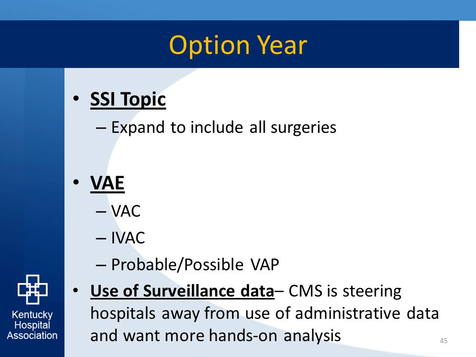 Option Year SSI Topic – Expand to include all surgeries VAE – VAC – IVAC – Probable/Possible VAP Use of Surveillance data– CMS is steering hospitals a