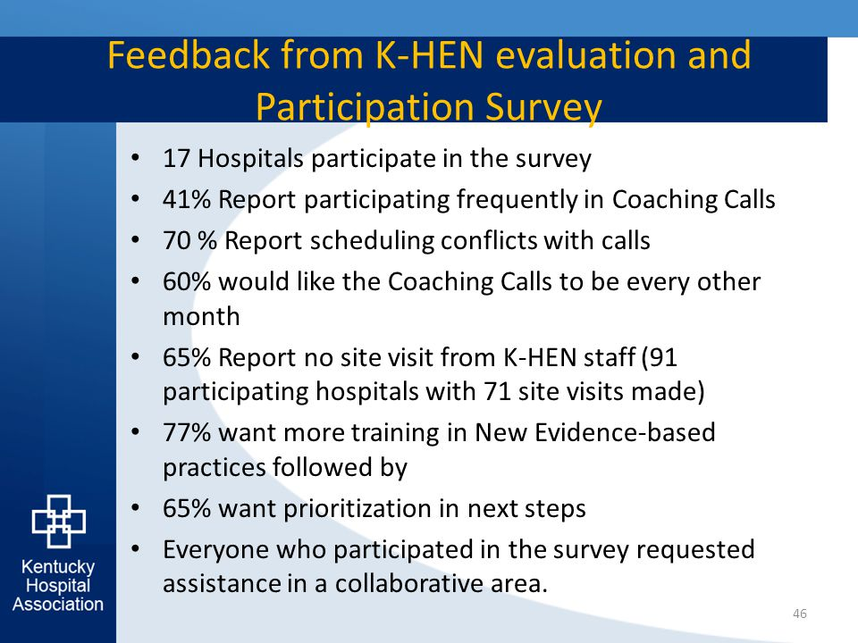 Feedback from K-HEN evaluation and Participation Survey 17 Hospitals participate in the survey 41% Report participating frequently in Coaching Calls 7