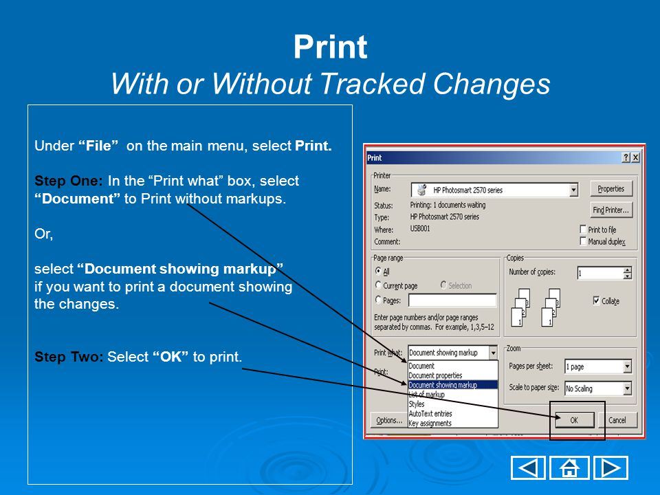 Print With or Without Tracked Changes Under File on the main menu, select Print.