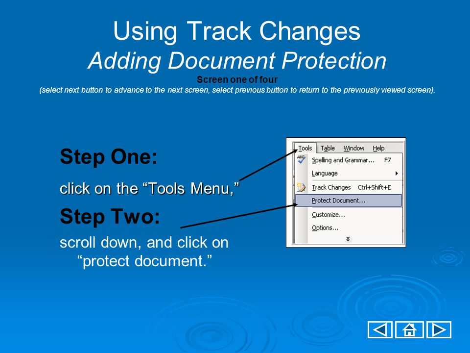 Using Track Changes Adding Document Protection Screen one of four (select next button to advance to the next screen, select previous button to return to the previously viewed screen).