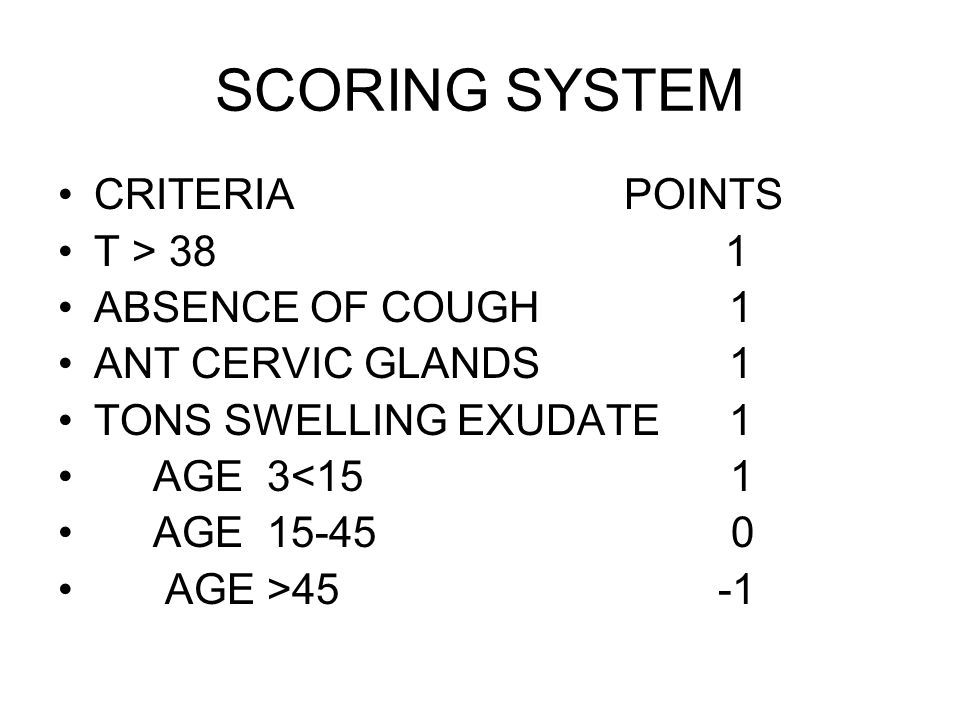 SCORING SYSTEM CRITERIA POINTS T > 38 1 ABSENCE OF COUGH 1 ANT CERVIC GLANDS 1 TONS SWELLING EXUDATE 1 AGE 3<15 1 AGE 15-45 0 AGE >45 -1