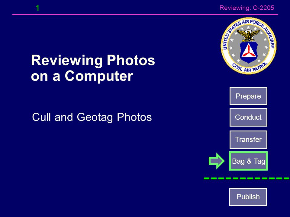 Reviewing: O-2205 1 Reviewing Photos on a Computer Cull and Geotag Photos Prepare Conduct Transfer Bag & Tag Publish
