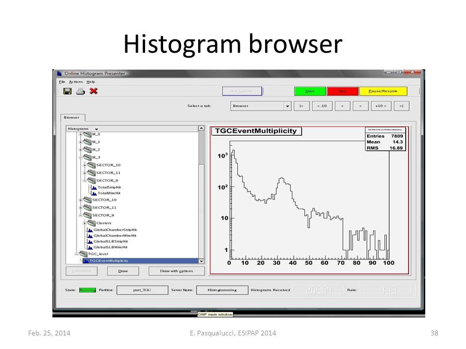 Histogram browser Feb. 25, 201438E. Pasqualucci, ESIPAP 2014