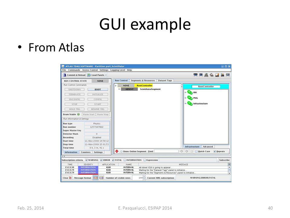 GUI example From Atlas Feb. 25, 201440E. Pasqualucci, ESIPAP 2014