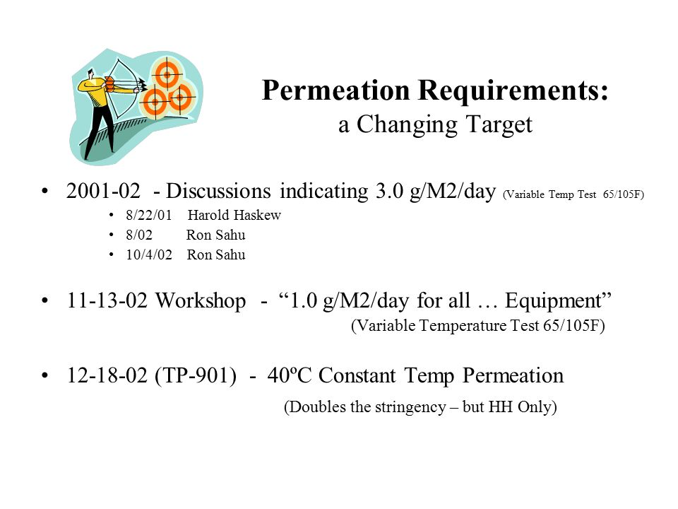 Permeation Requirements: a Changing Target 2001-02 - Discussions indicating 3.0 g/M2/day (Variable Temp Test 65/105F) 8/22/01 Harold Haskew 8/02 Ron Sahu 10/4/02 Ron Sahu 11-13-02 Workshop - 1.0 g/M2/day for all … Equipment (Variable Temperature Test 65/105F) 12-18-02 (TP-901) - 40ºC Constant Temp Permeation (Doubles the stringency – but HH Only)