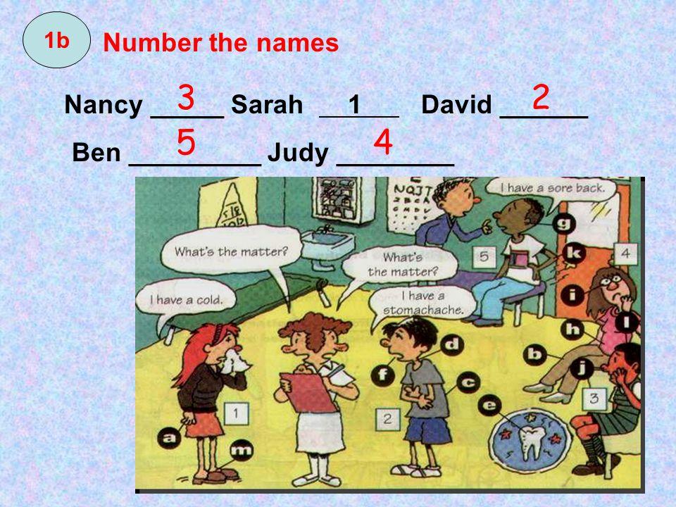 Nancy _____ Sarah 1 David ______ Ben _________ Judy ________ 3 54 2 1b Number the names