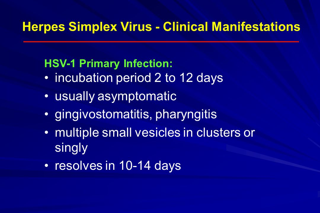 Herpes Simplex Virus - Clinical Manifestations HSV-1 Primary Infection: incubation period 2 to 12 days usually asymptomatic gingivostomatitis, pharyng