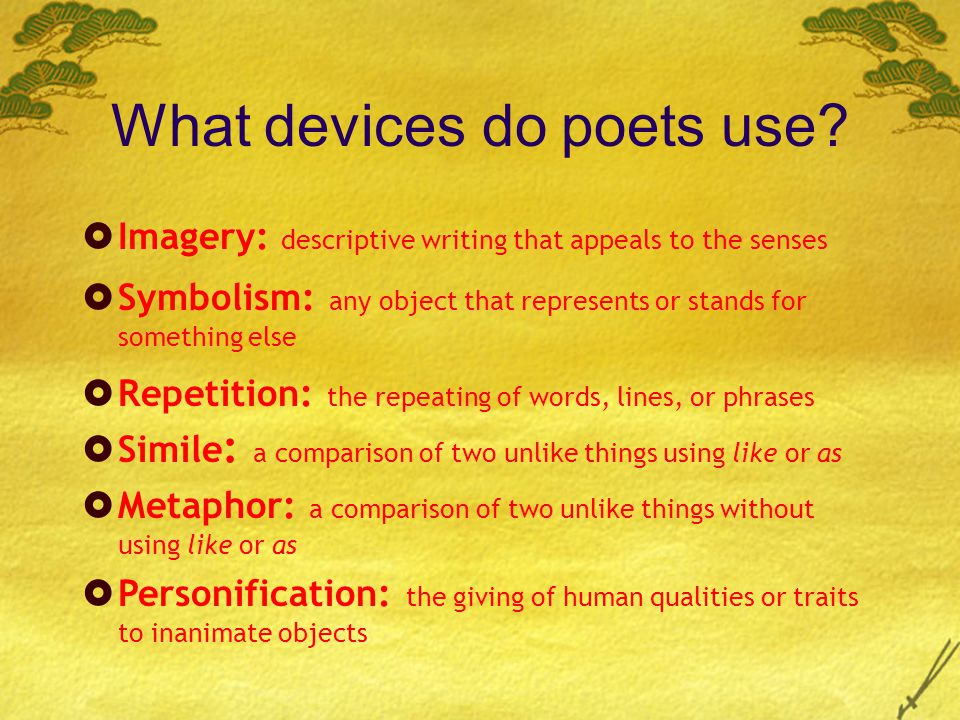 What devices do poets use.