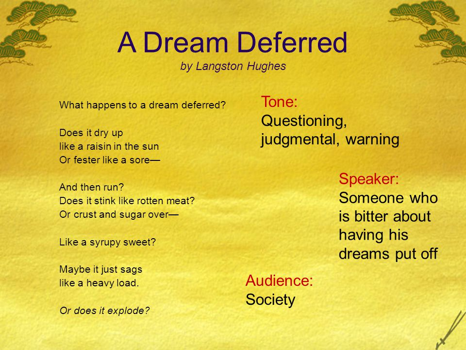 Subject: A series of rhetorical questions about living with disappointment Themes: Having to postpone one's deepest desires can lead to destruction or destructive behavior A Dream Deferred by Langston Hughes What happens to a dream deferred.