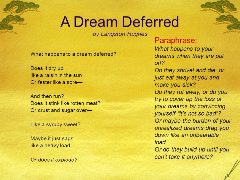 imagery: raisin in the sun fester like a sore stink like rotten meat heavy load explode similes: dry up like a rasin in the sun fester like a sore- stink like rotten meat Sugar over-Like a syrupy sweet? sag like a heavy load A Dream Deferred by Langston Hughes What happens to a dream deferred.