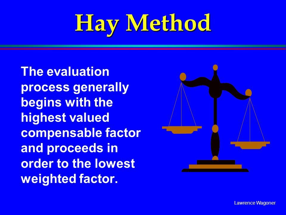 Lawrence Wagoner Hay Method The evaluation process generally begins with the highest valued compensable factor and proceeds in order to the lowest wei