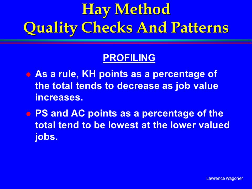 Lawrence Wagoner Hay Method Quality Checks And Patterns PROFILING l As a rule, KH points as a percentage of the total tends to decrease as job value i