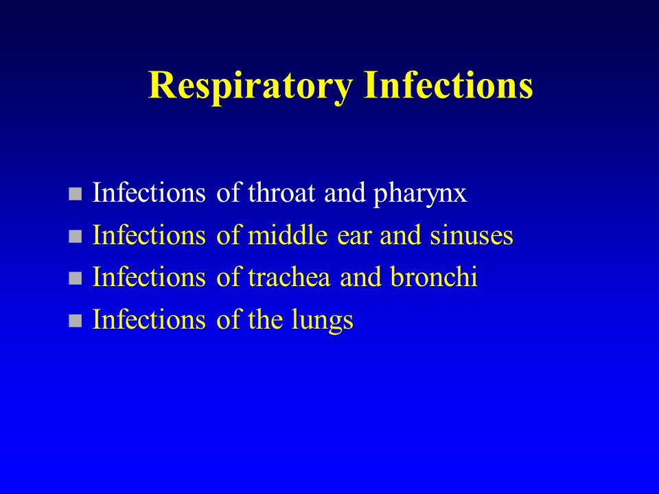 Infections of middle ear and sinuses n Often viral with bacterial secondary infection n Most common bacteria: Haemophilus influenzae, Streptococcus pneumoniae and Streptococcus pyogenes.