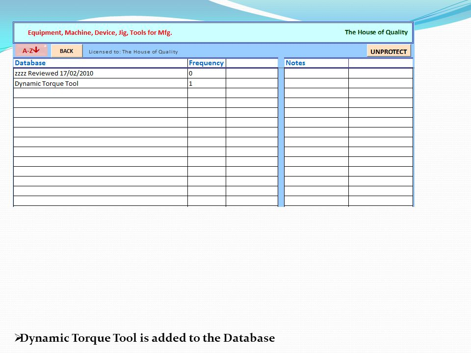  Dynamic Torque Tool is added to the Database