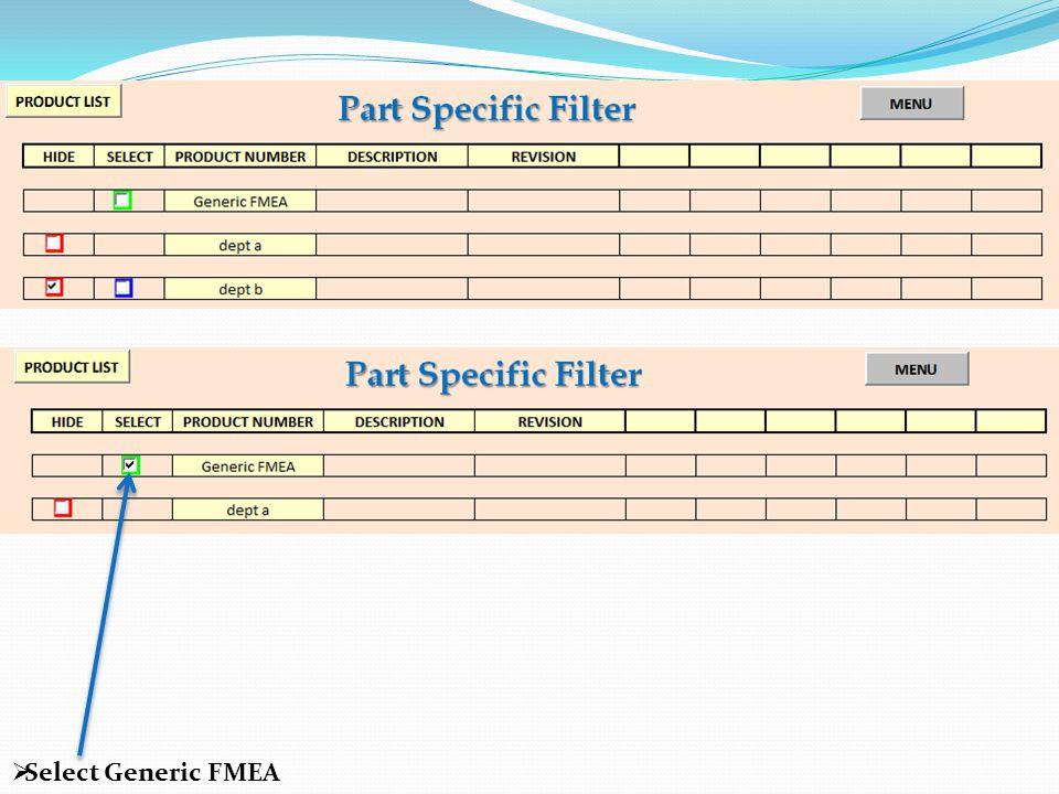  Select Generic FMEA