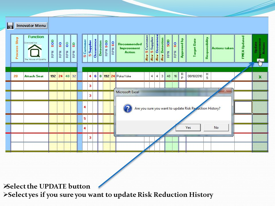  Select the UPDATE button  Select yes if you sure you want to update Risk Reduction History