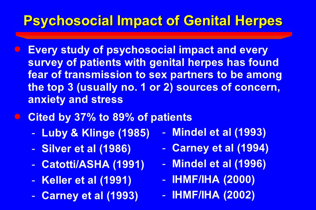 Psychosocial Impact of Genital Herpes  Every study of psychosocial impact and every survey of patients with genital herpes has found fear of transmis