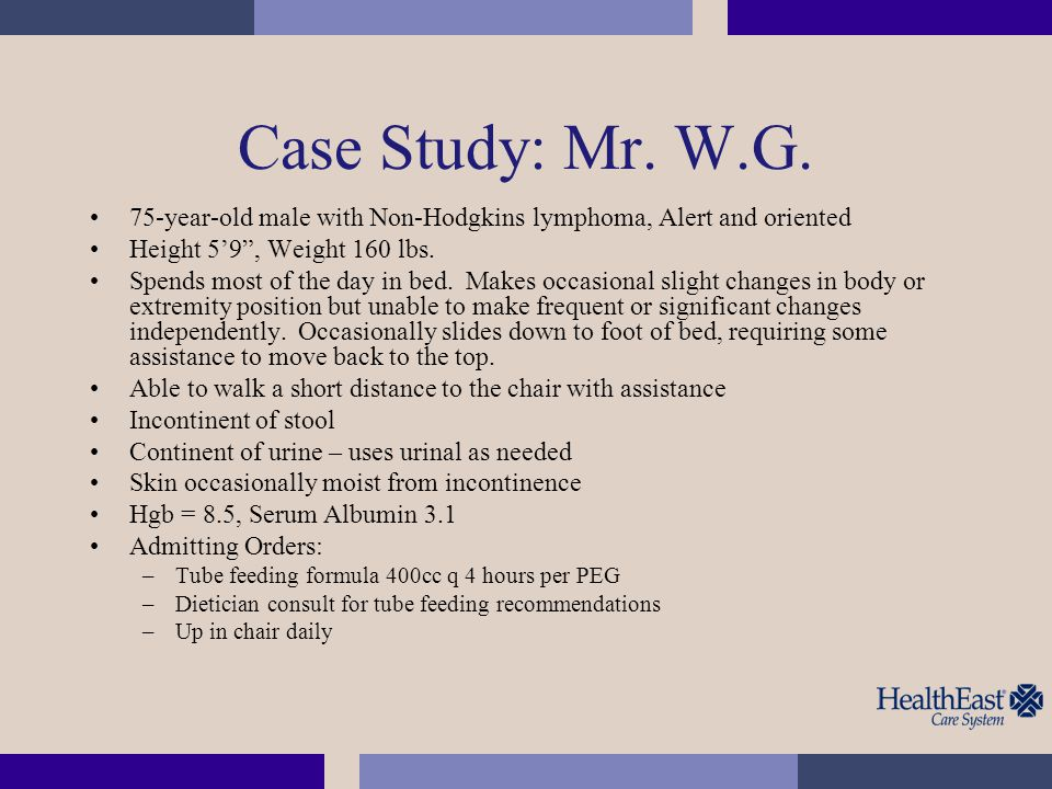 Test Question Using the Braden Scale, what is Mr.W.G.'s sensory perception score.