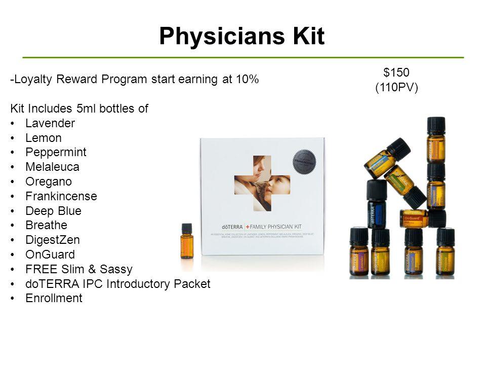 Physicians Kit $150 (110PV) -Loyalty Reward Program start earning at 10% Kit Includes 5ml bottles of Lavender Lemon Peppermint Melaleuca Oregano Frank