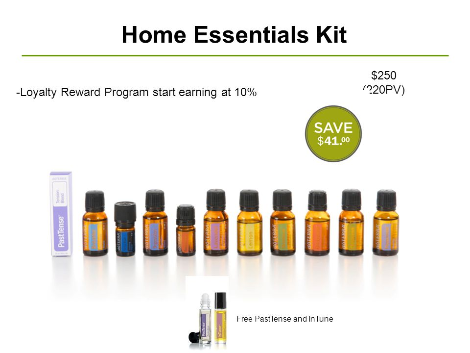 Home Essentials Kit -Loyalty Reward Program start earning at 10% $250 (220PV) Free PastTense and InTune