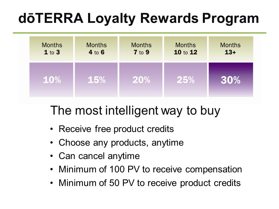 dōTERRA Loyalty Rewards Program The most intelligent way to buy Receive free product credits Choose any products, anytime Can cancel anytime Minimum o